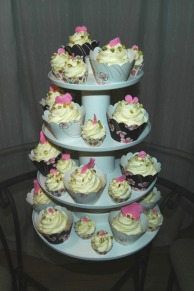 Tower of Mini and Regular Cupcakes